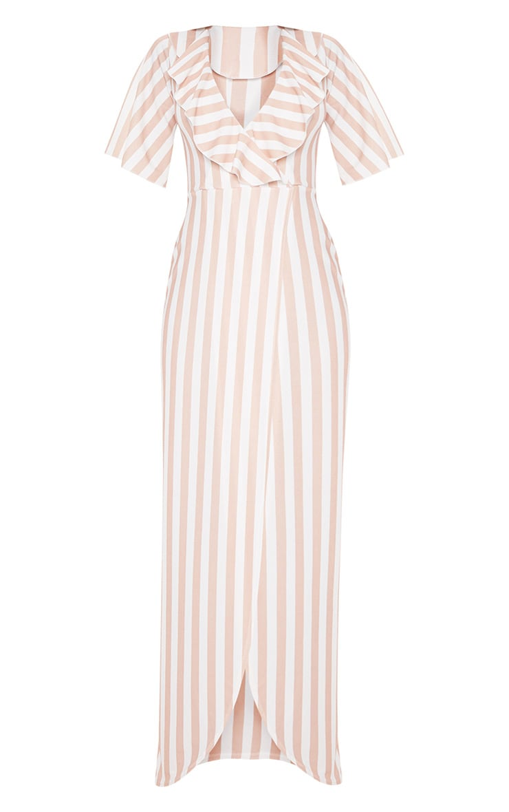 Stone Stripe Print Frill Detail Wrap Maxi Dress 3