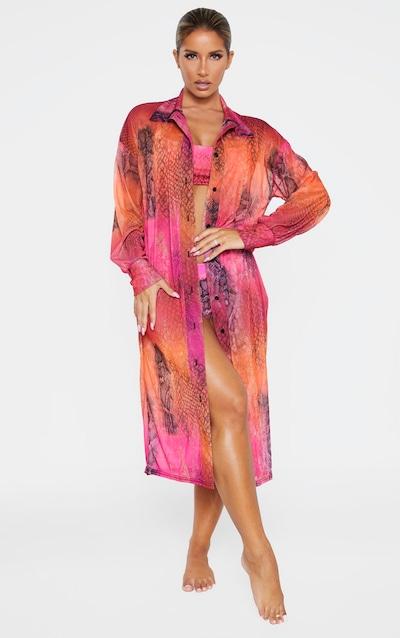 Pink Reptile Oversized Beach Shirt Dress