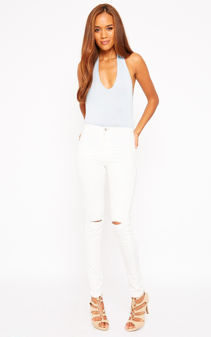 Basic Powder Blue Halter Neck Bodysuit 3