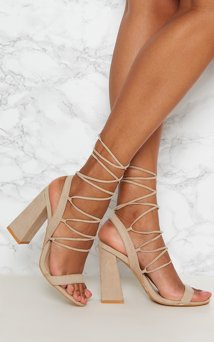 Nude Ghillie Lace Up Block Heel  1