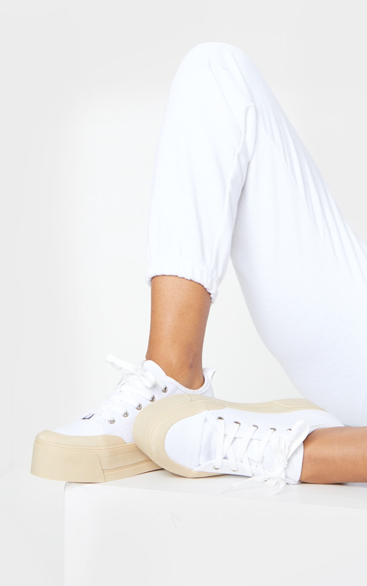 White Flatform Lace Up Canvas Sneakers 1