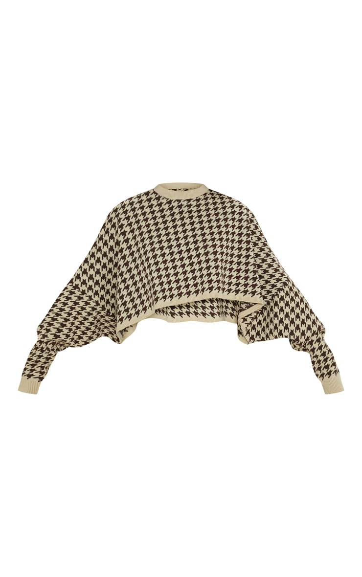 Stone Dogtooth Knitted Cropped Sweater 3