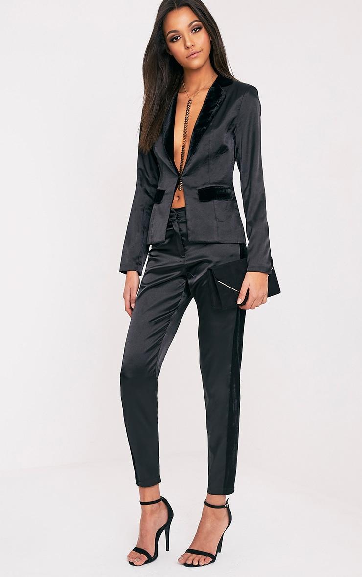 Alaynie Black Velvet Stripe Satin Trousers 1