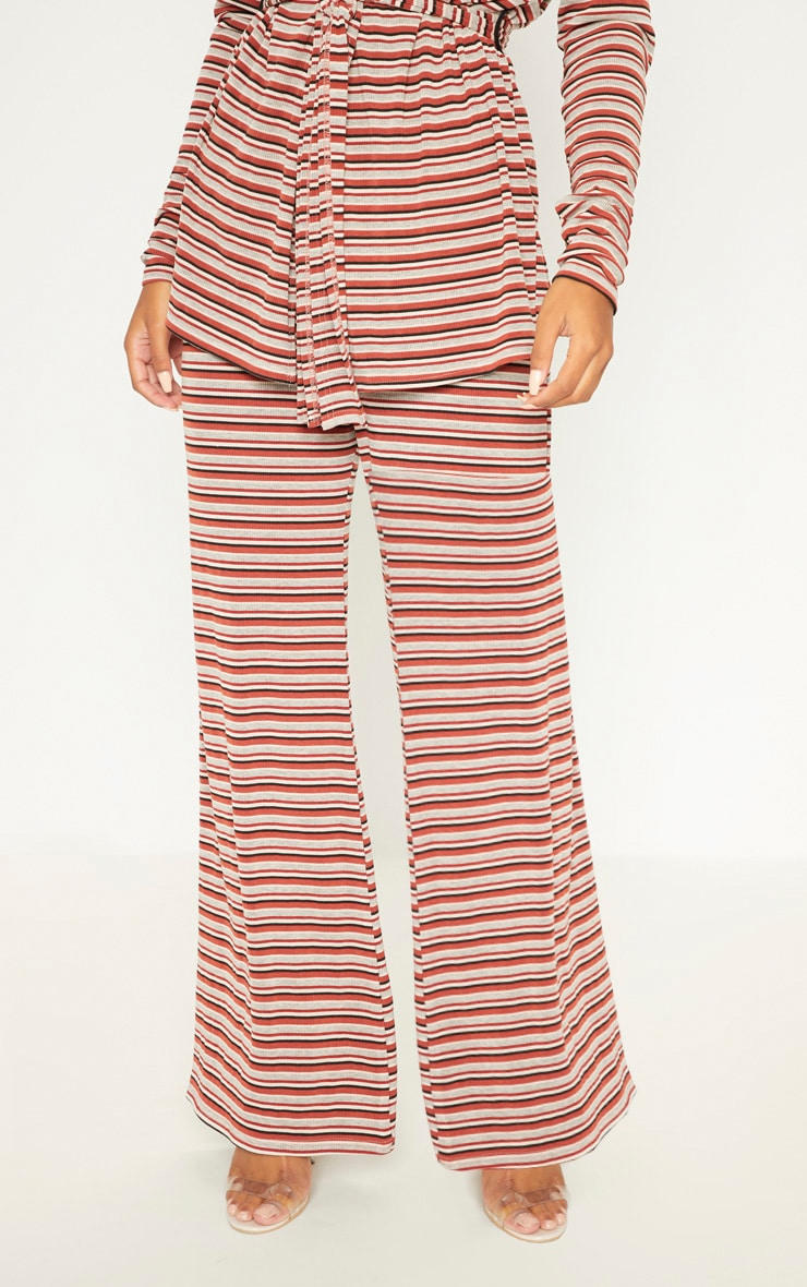 Rust Ribbed Knitted Wide Leg Trouser  2