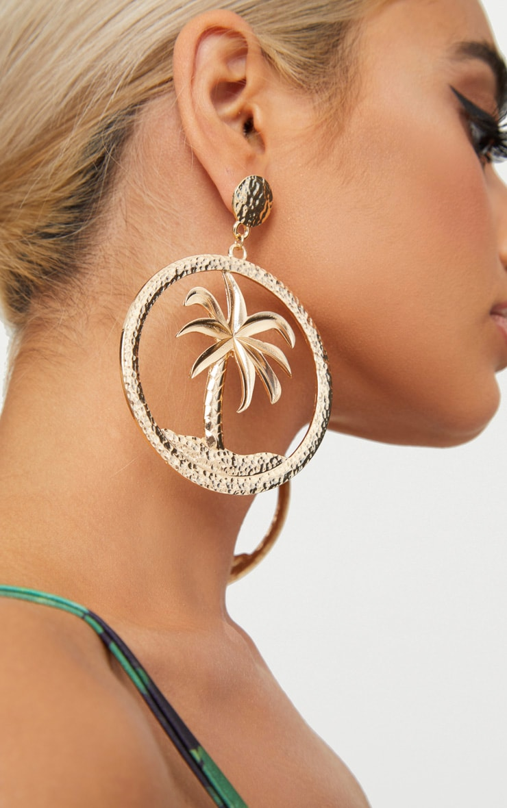 Gold Palm Tree Hoop Earrings 2