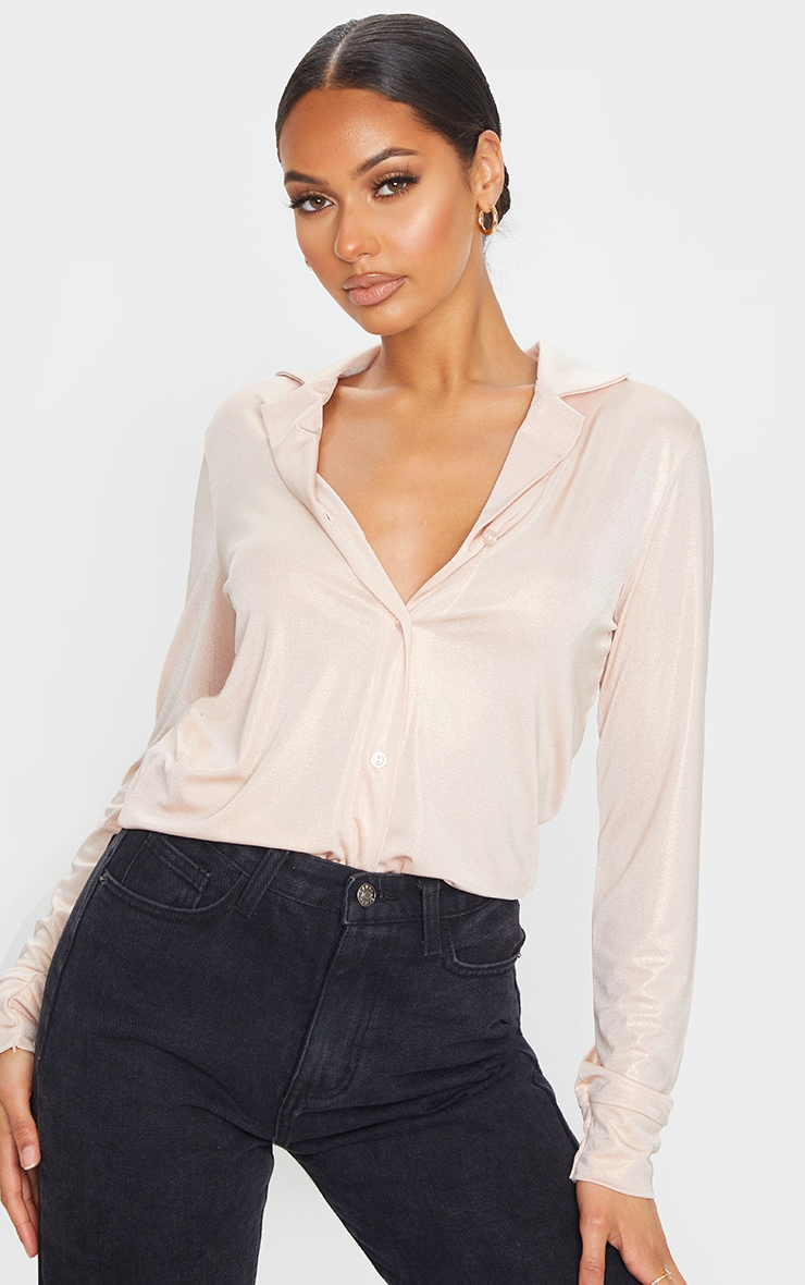 Rose Gold Metallic Long Basic Shirt 1