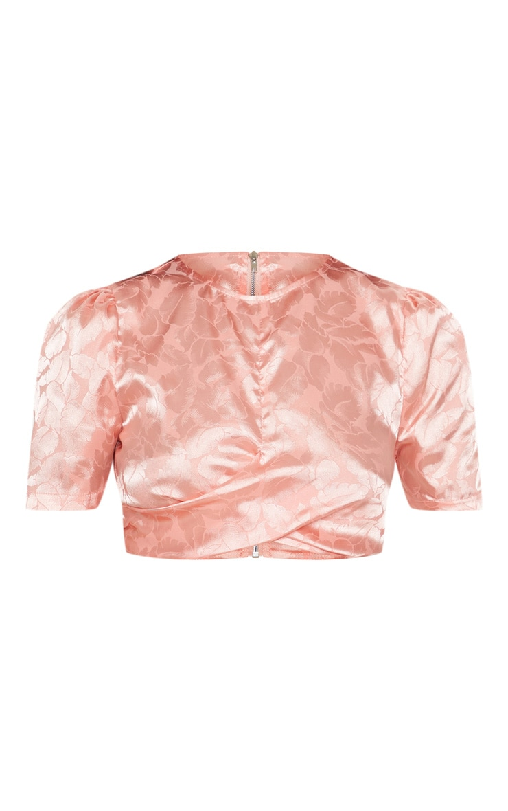Coral Satin Jacquard Short Sleeve Crop Top 3
