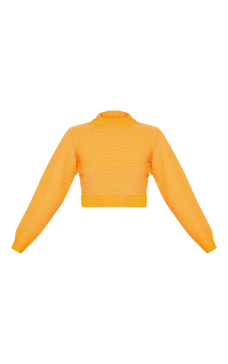 Orange Ribbed Cropped Knitted Jumper 3