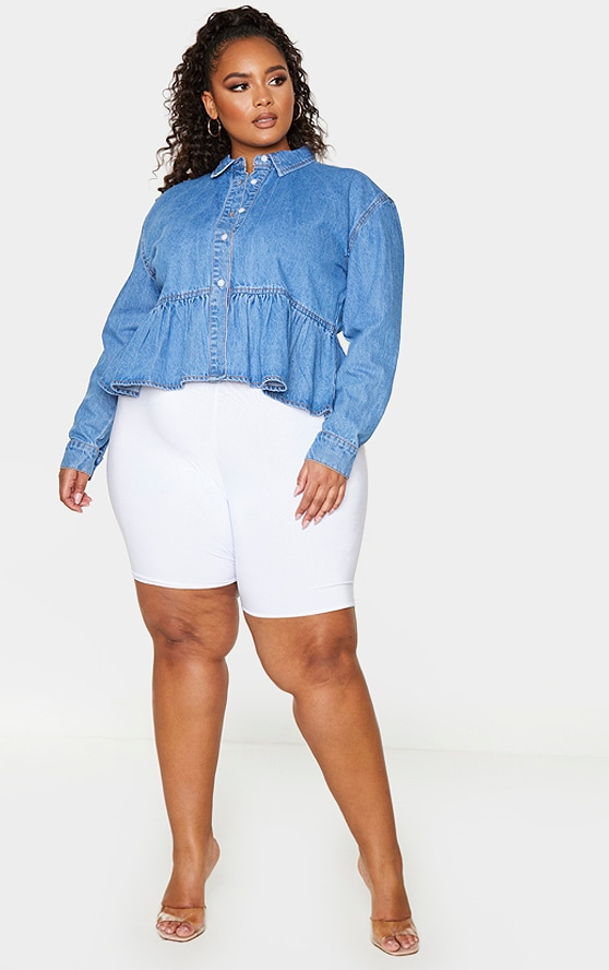 Plus Mid Blue Wash Denim Frill Hem Shirt 3