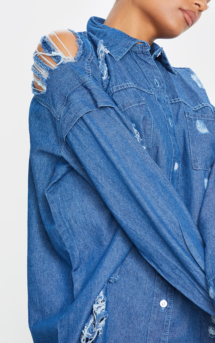 Mid Wash Oversized Distressed Denim Shirt 4
