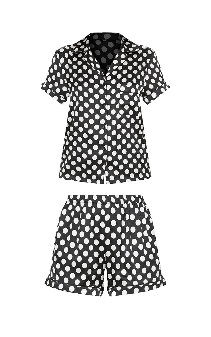 Monochrome Polka Button Up Short Pyjama Set 3