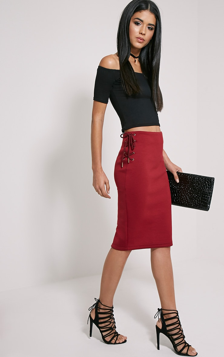Malita Oxblood Lace Up Side Scuba Midi Skirt 1