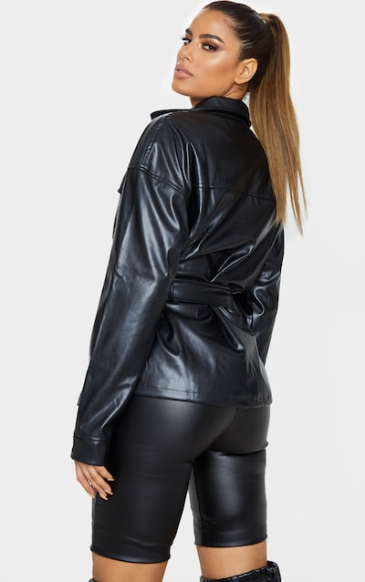 Tall Black Faux Leather Belt Detail Jacket