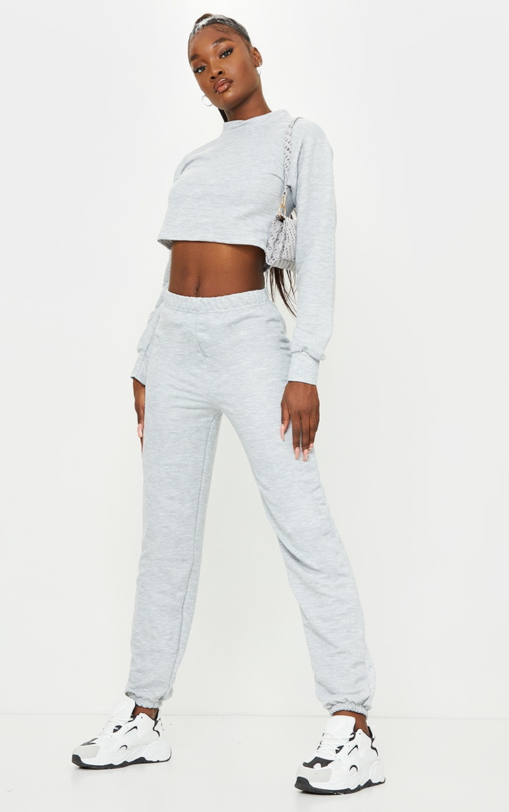Tall Grey Cropped Sweat and Jogger Set 3