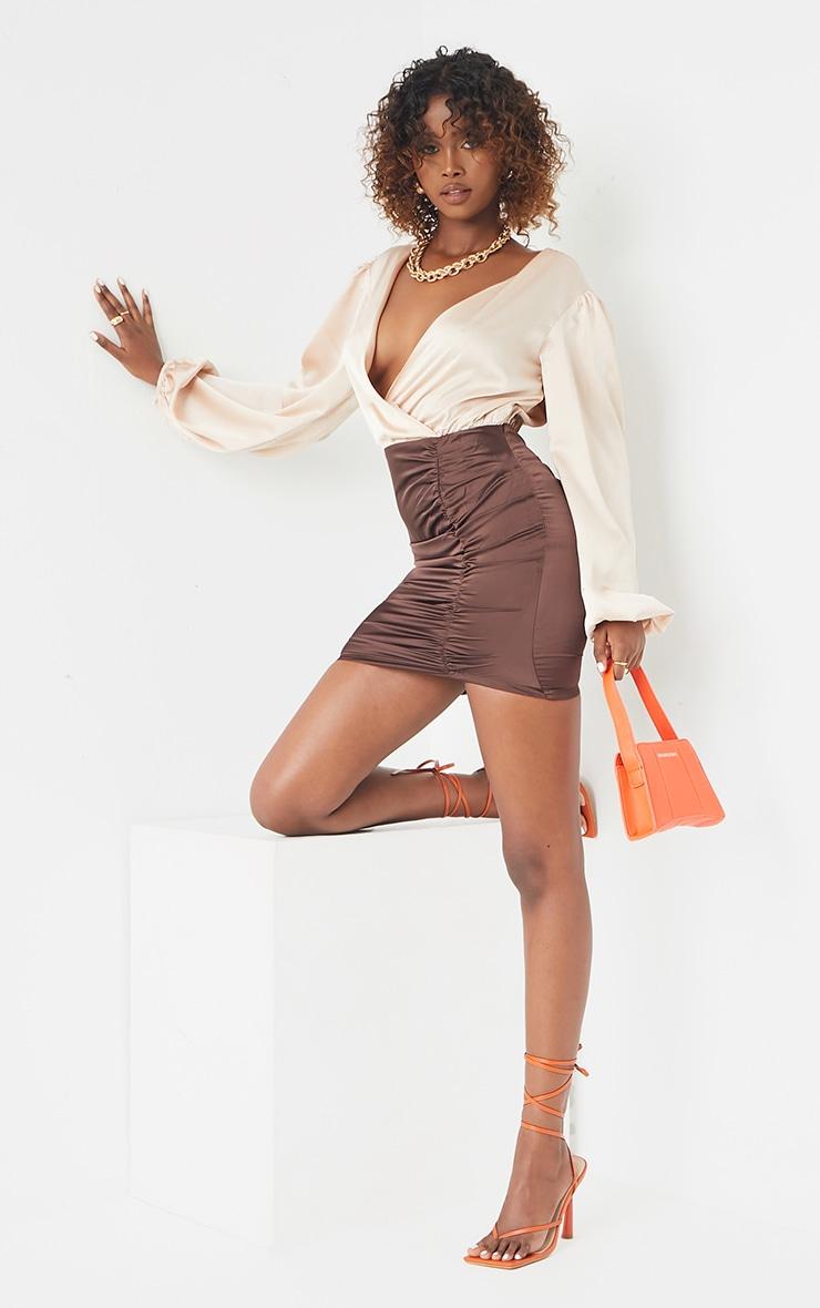 Chocolate Contrast Satin Plunge Gathered Skirt Bodycon Dress 3