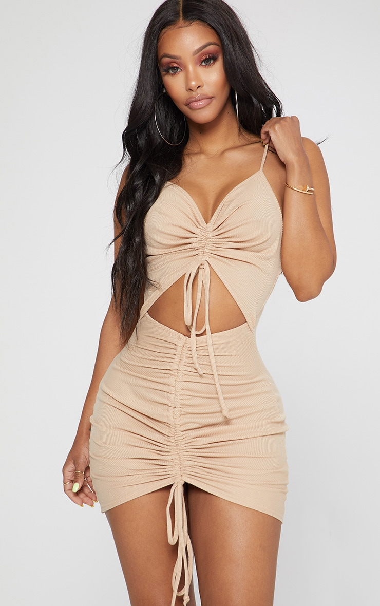 Shape Stone Ribbed Ruched Cut Out Bodycon Dress 1