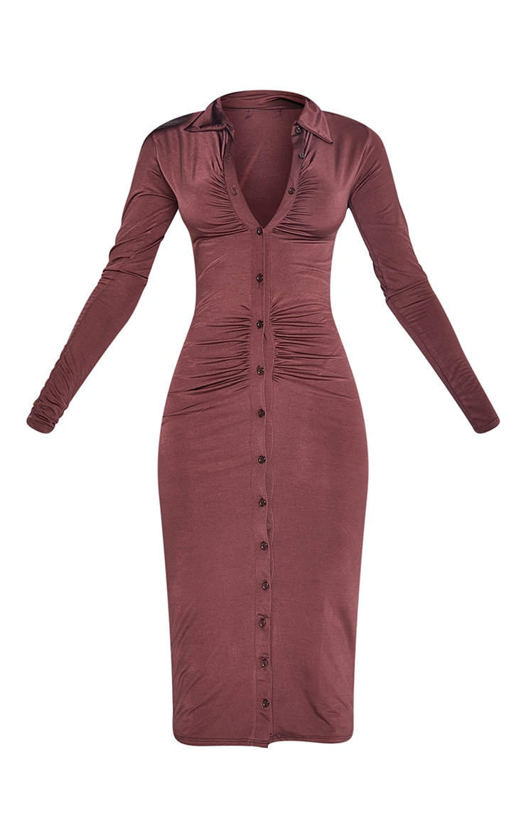 Chocolate Slinky Ruched Button Down Midi Shirt Dress 5