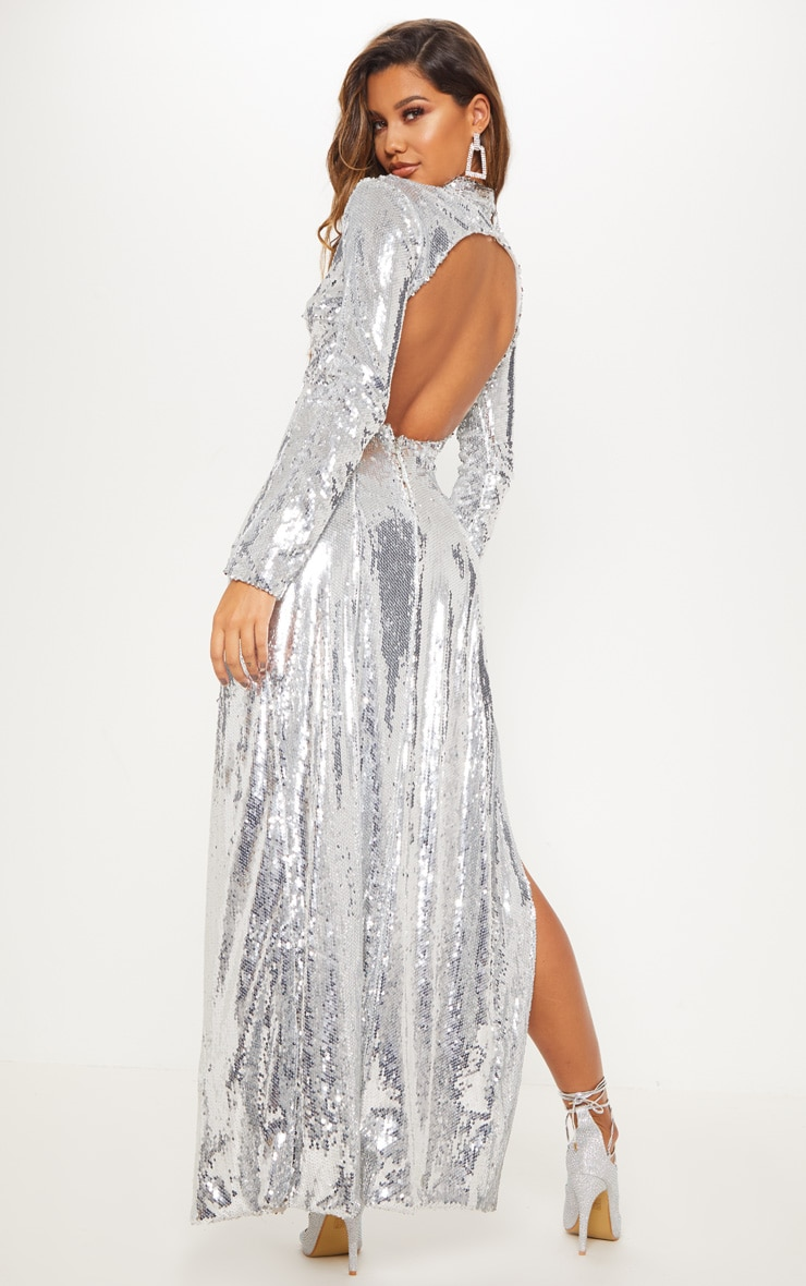 Silver Sequin Backless Maxi Dress 2