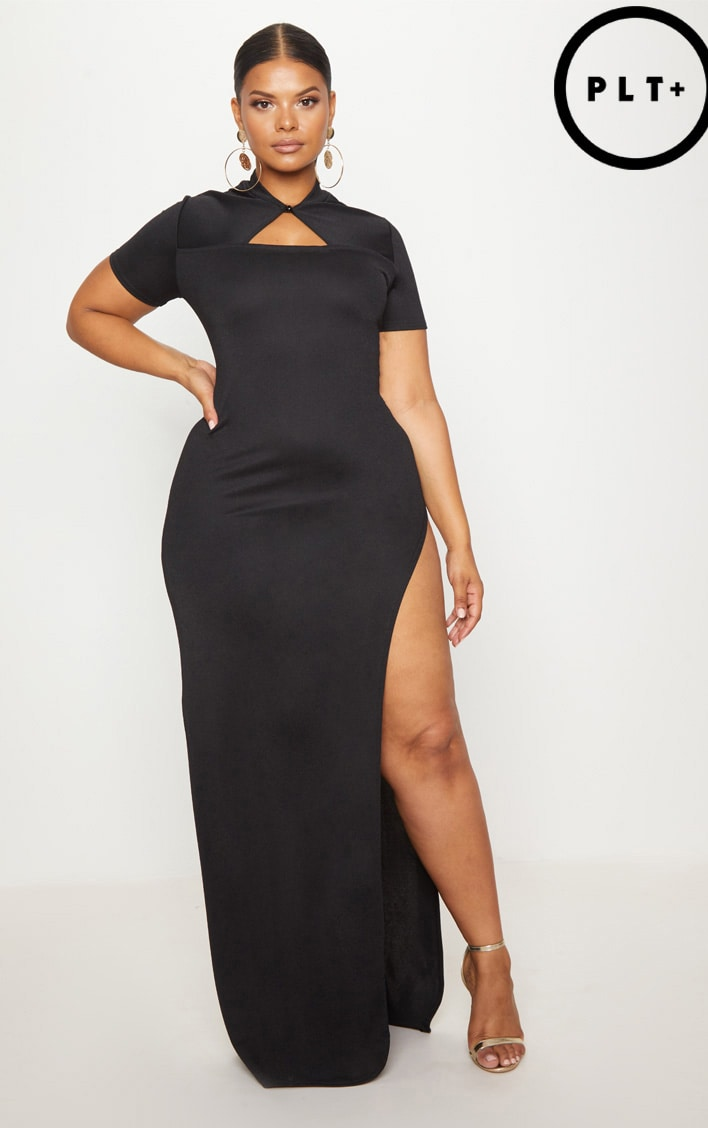 Plus Black Oriental Cut Out Detail Maxi Dress 1
