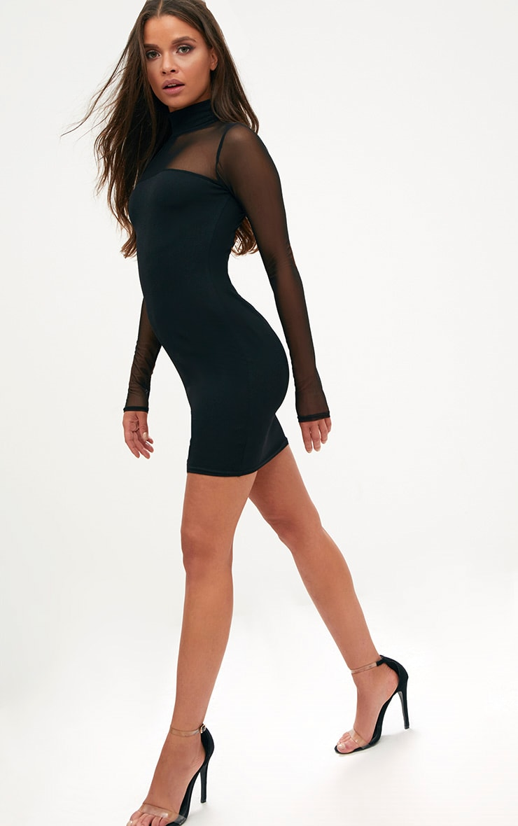 Black High Neck Mesh Panel Bodycon Dress 4