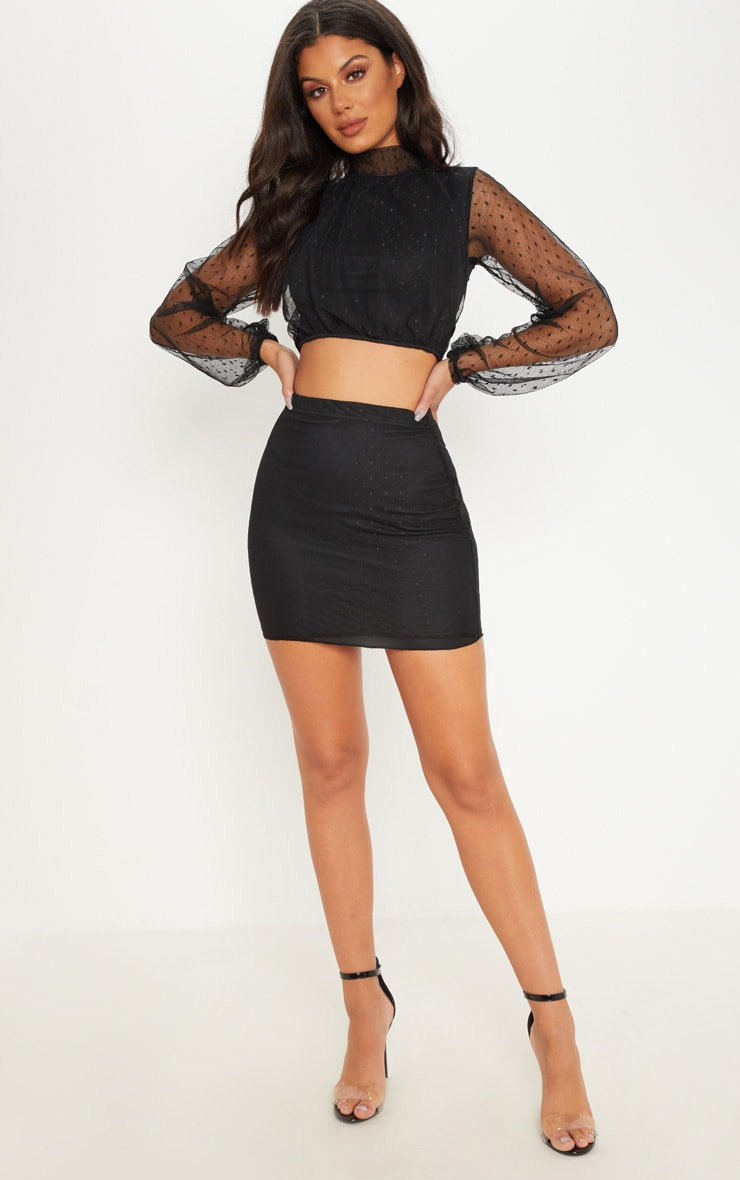 Black Dobby Mesh High Neck Ruched Crop Top 1