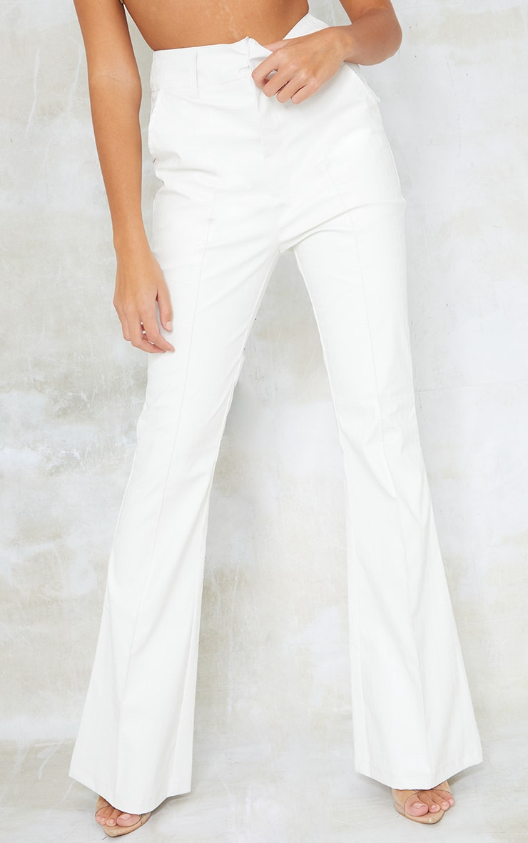 Tall Cream Faux Leather Croc Embossed Flare Trousers 2
