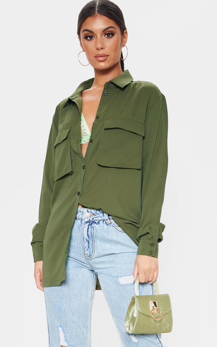 Olive Khaki Oversized Chiffon Shirt 1
