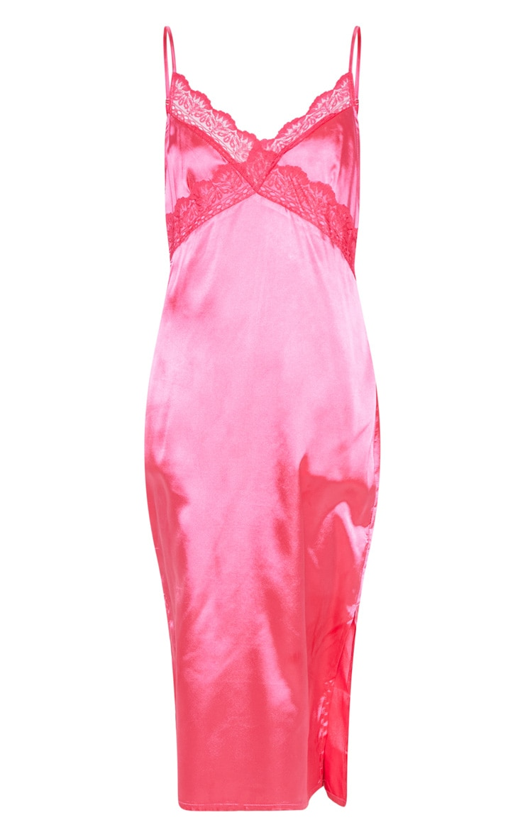 Hot Pink Lace Trim Midi Shift Dress 3