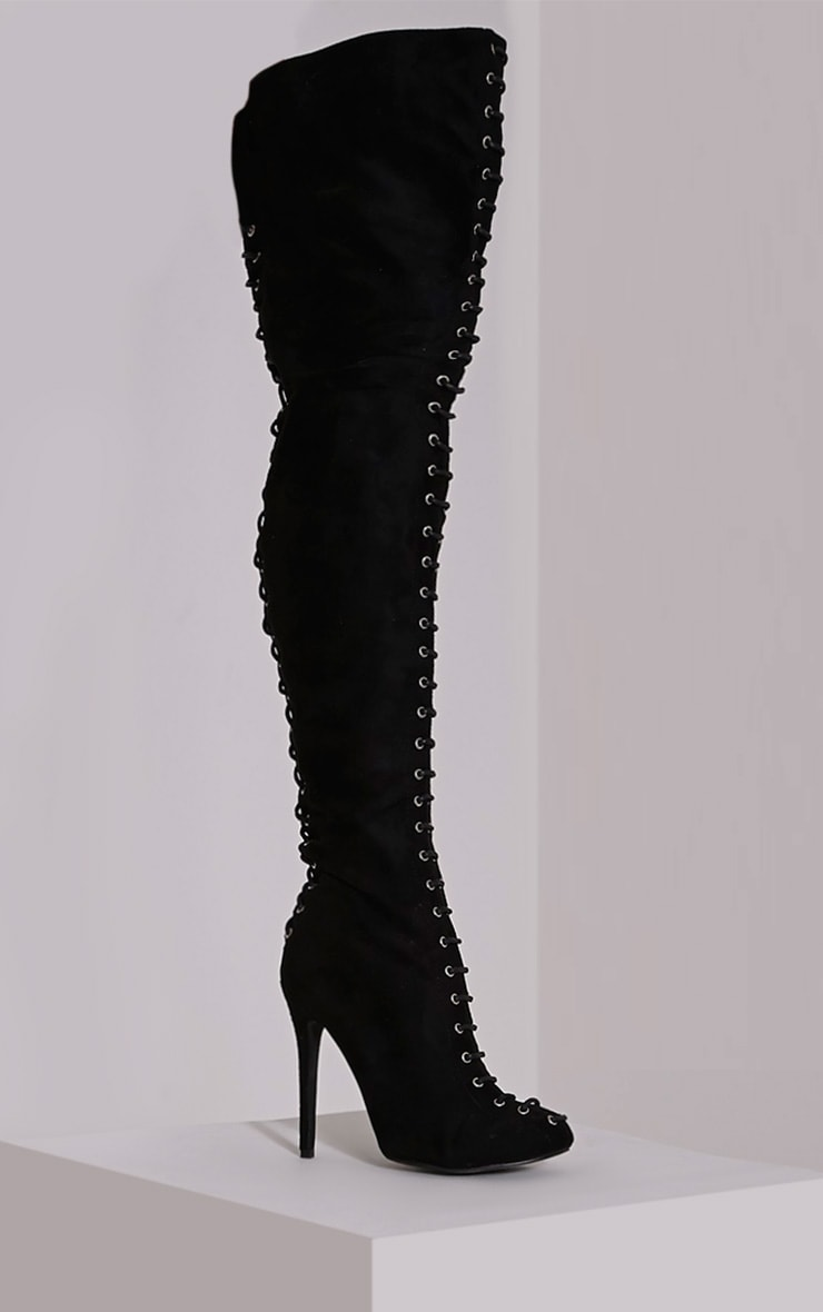 Nalah Black Suede Lace Detail Thigh High Boots 3