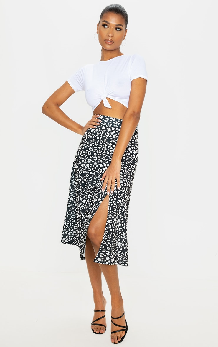 Black Leopard Print Floaty Midi Skirt 1