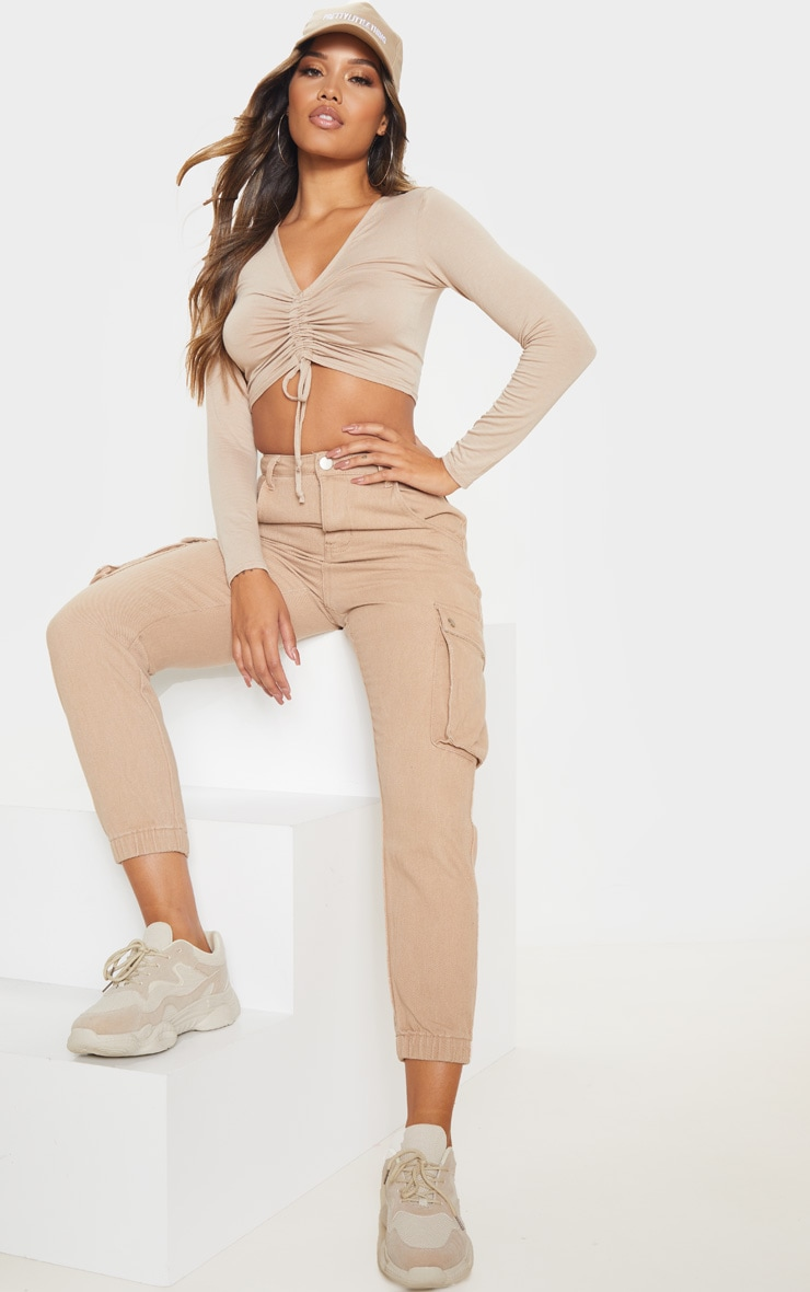 Sand Jersey V Ruched Long Sleeve Crop Top 4