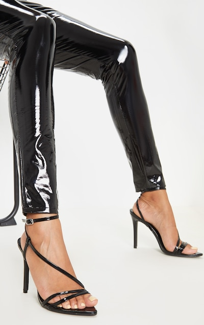 Black Asymmetric Strappy Sandal