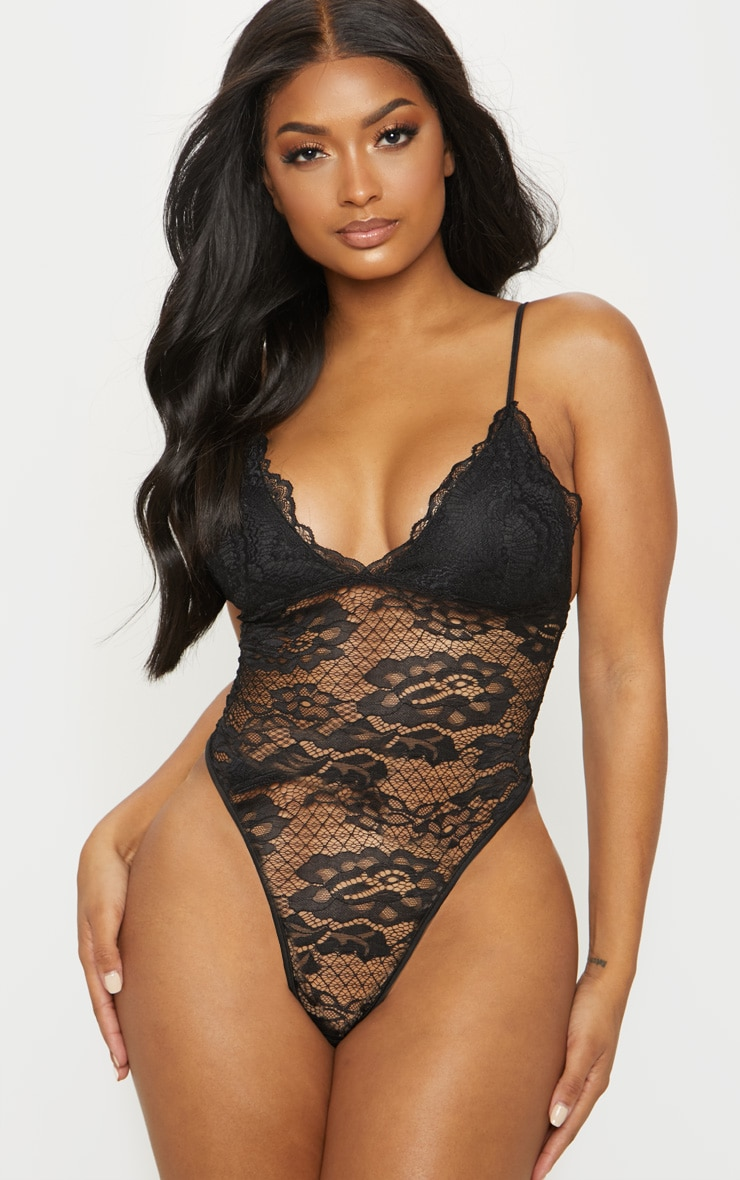 Shape Black Scallop Edge Lace Bodysuit  2