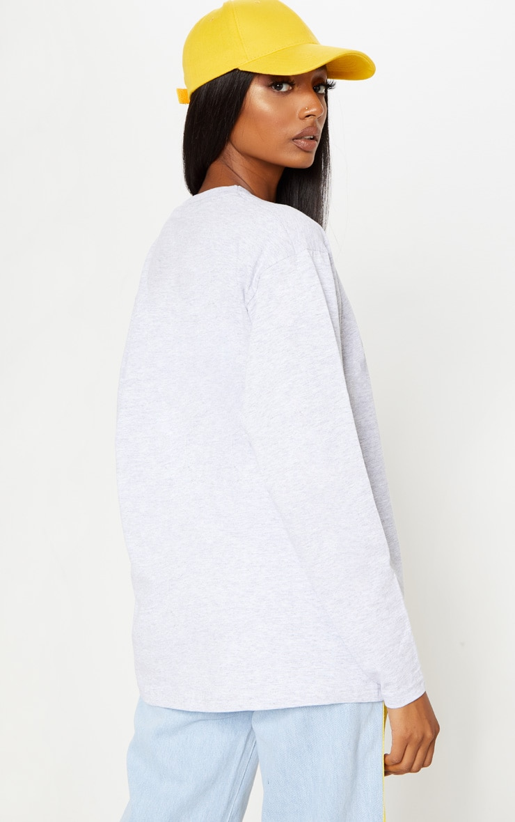 Grey Marl Long Sleeve Oversized Top 2