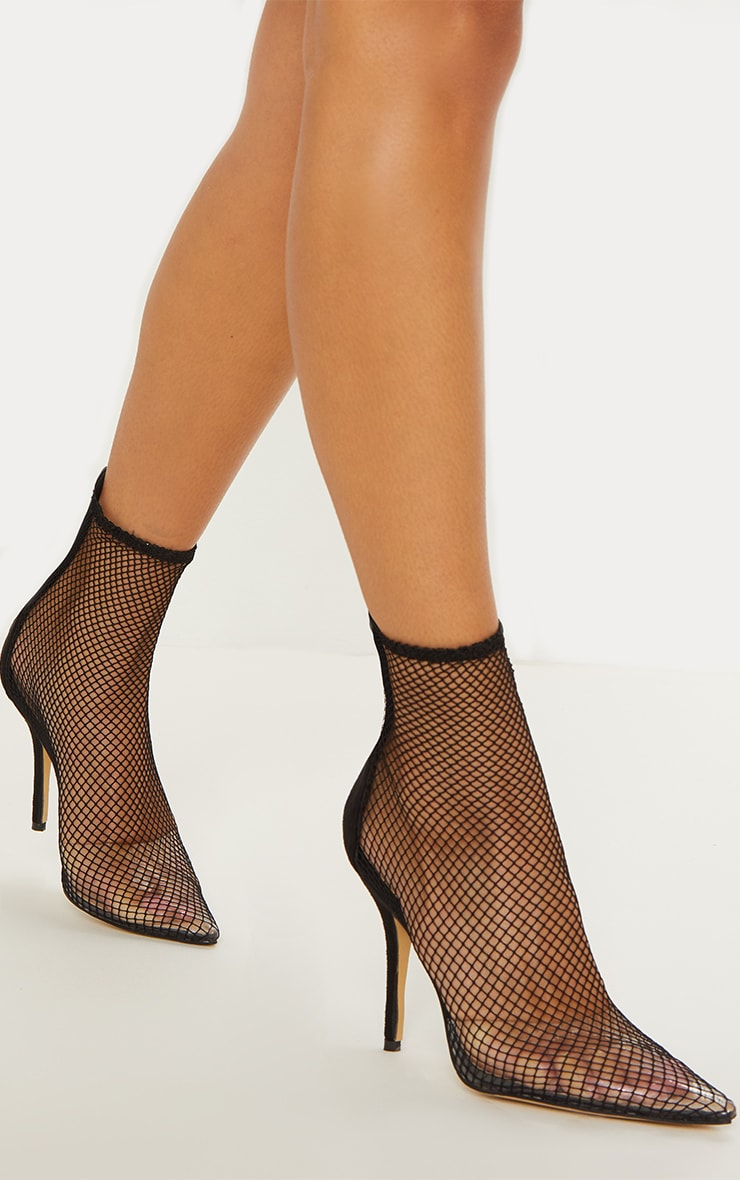 Black Fishnet Sock Boots 1