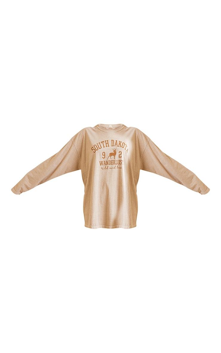 Sand Washed South Dakota Printed Long Sleeve T Shirt 5