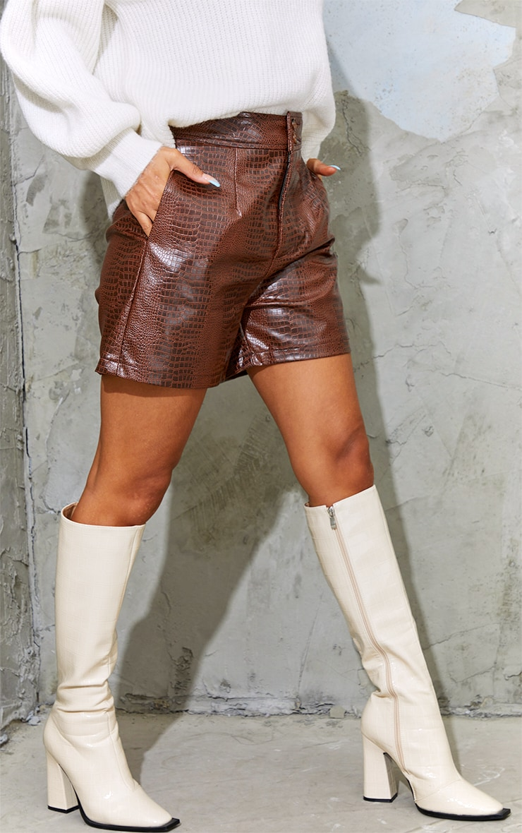 Chocolate Faux Leather Croc Effect Shorts 2