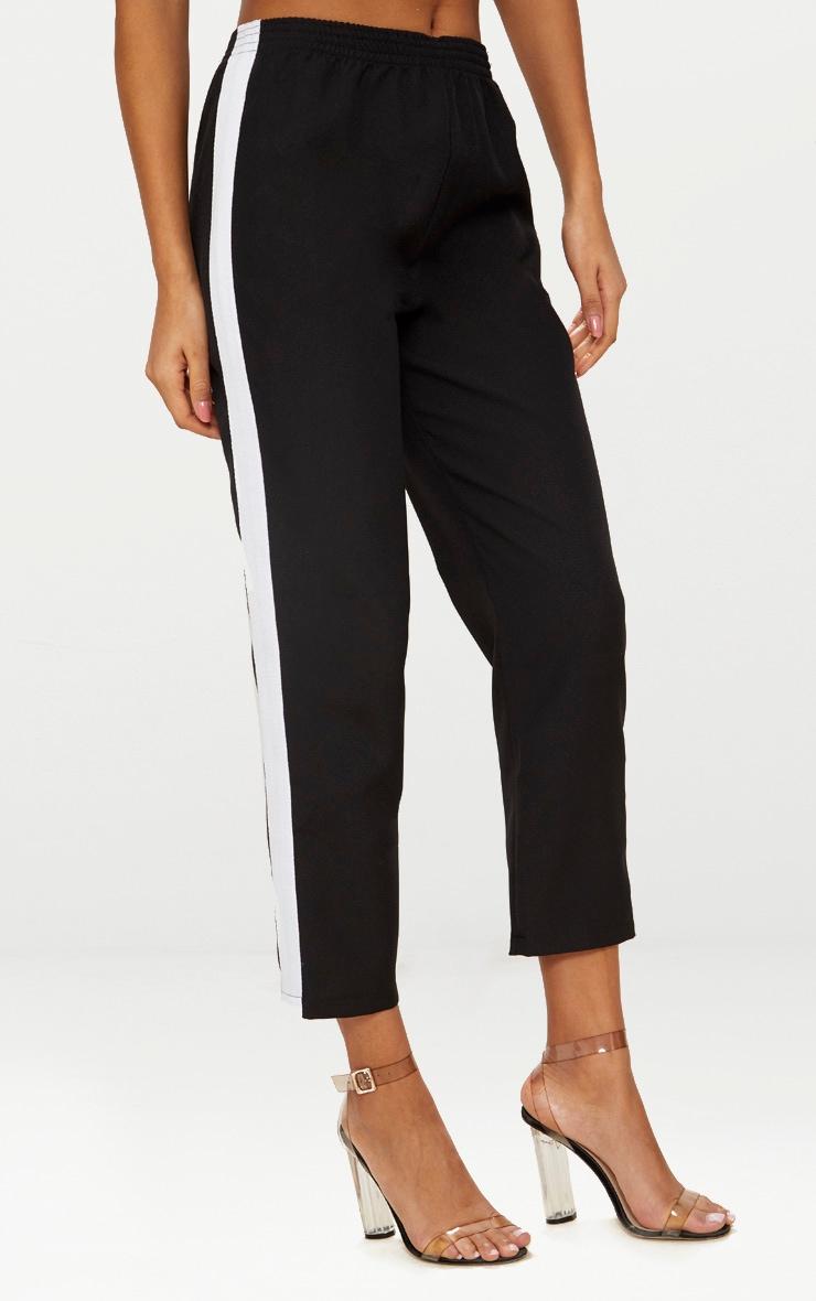 Black Tailored Side Stripe Cigarette Pants 2