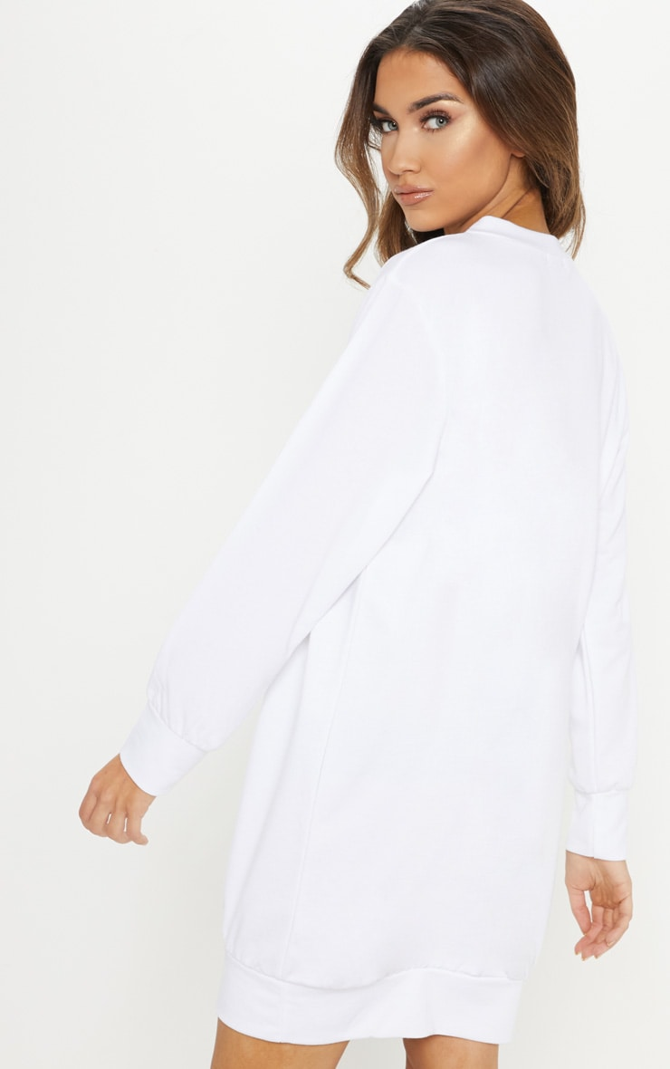 White Frosty Glitter Oversized Jumper Dress 2