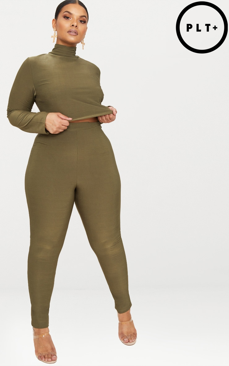 Plus Khaki Slinky High Waisted Leggings
