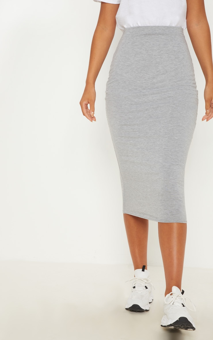 Grey Marl Ultimate Jersey Longline Midi Skirt 2