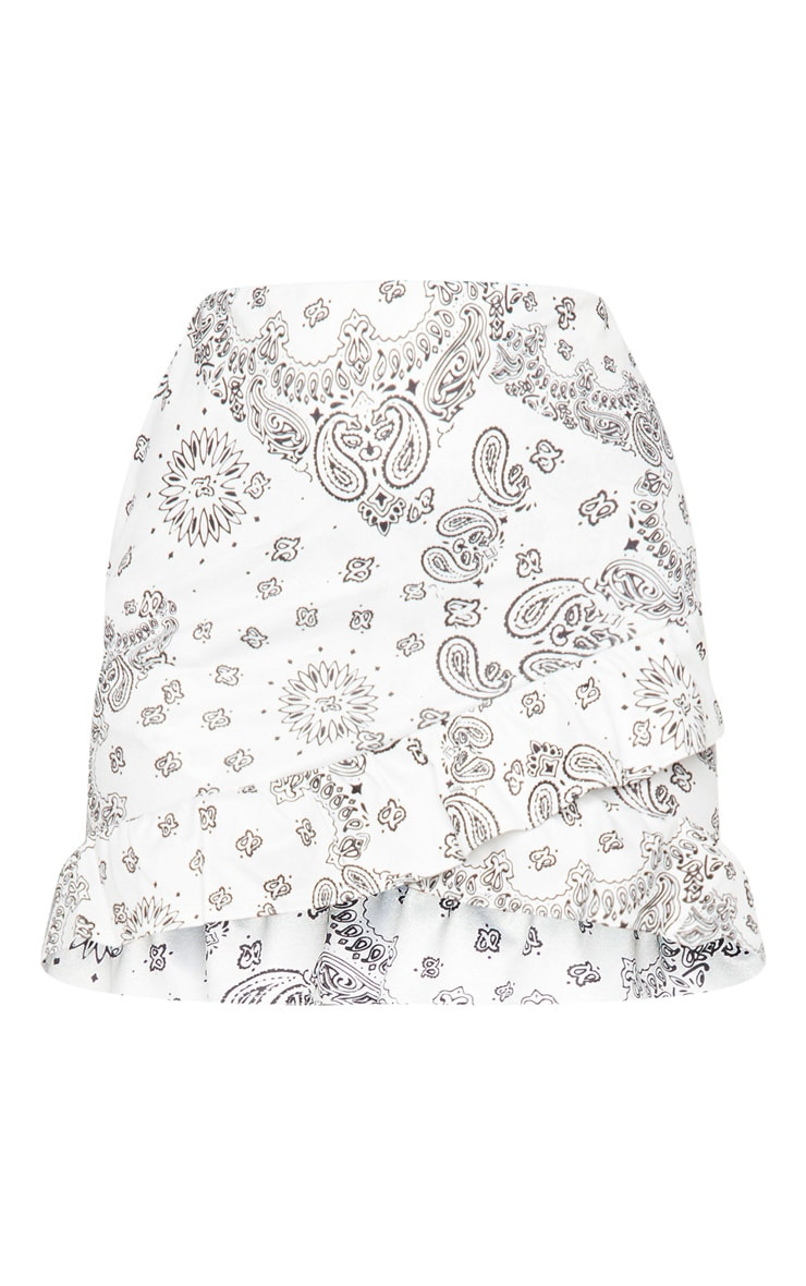 White Paisley Printed Frill Detail Wrap Mini Skirt 6