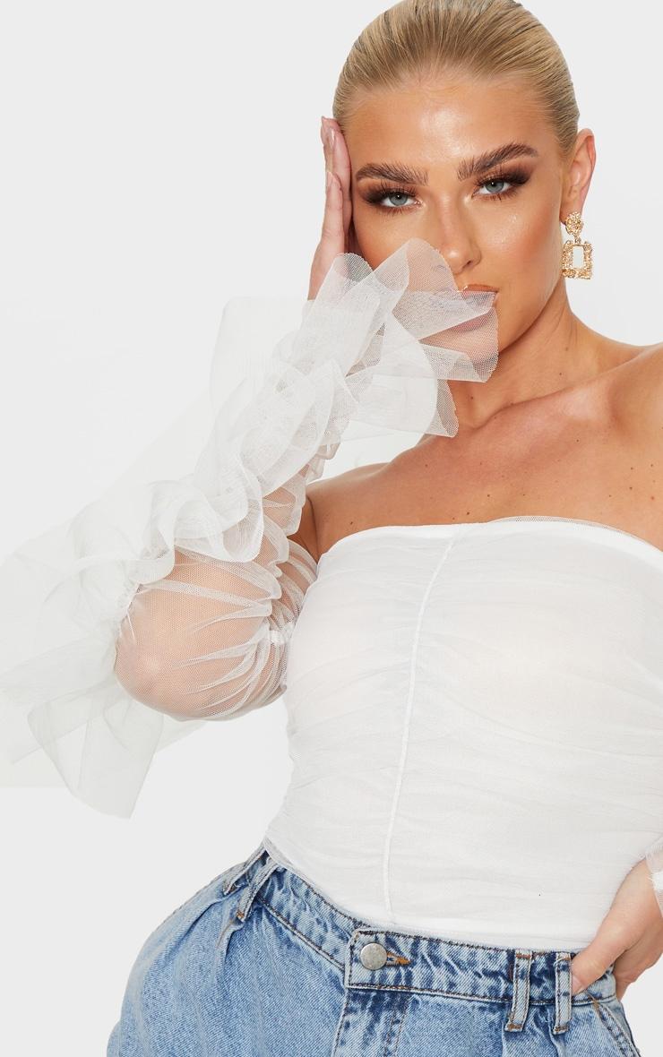 White Mesh Frill Sleeve Bardot Bodysuit 6