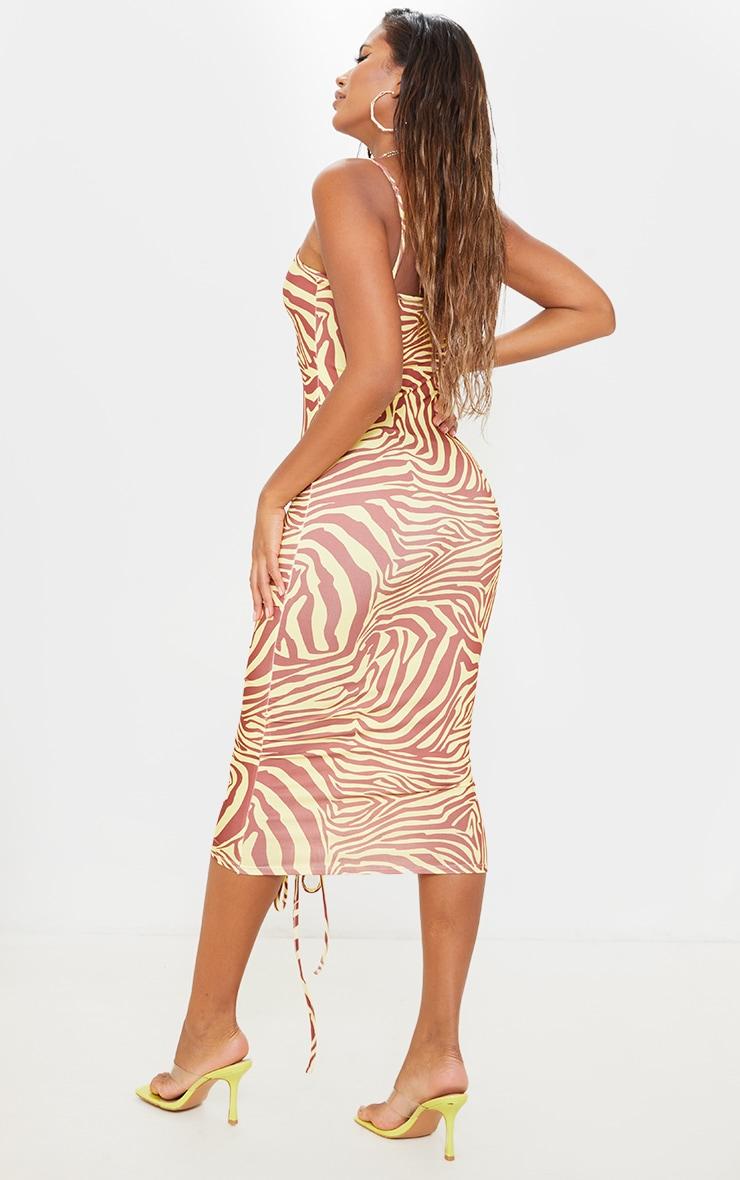 Yellow Zebra Print Slinky Strappy Ruched Midaxi Dress 2
