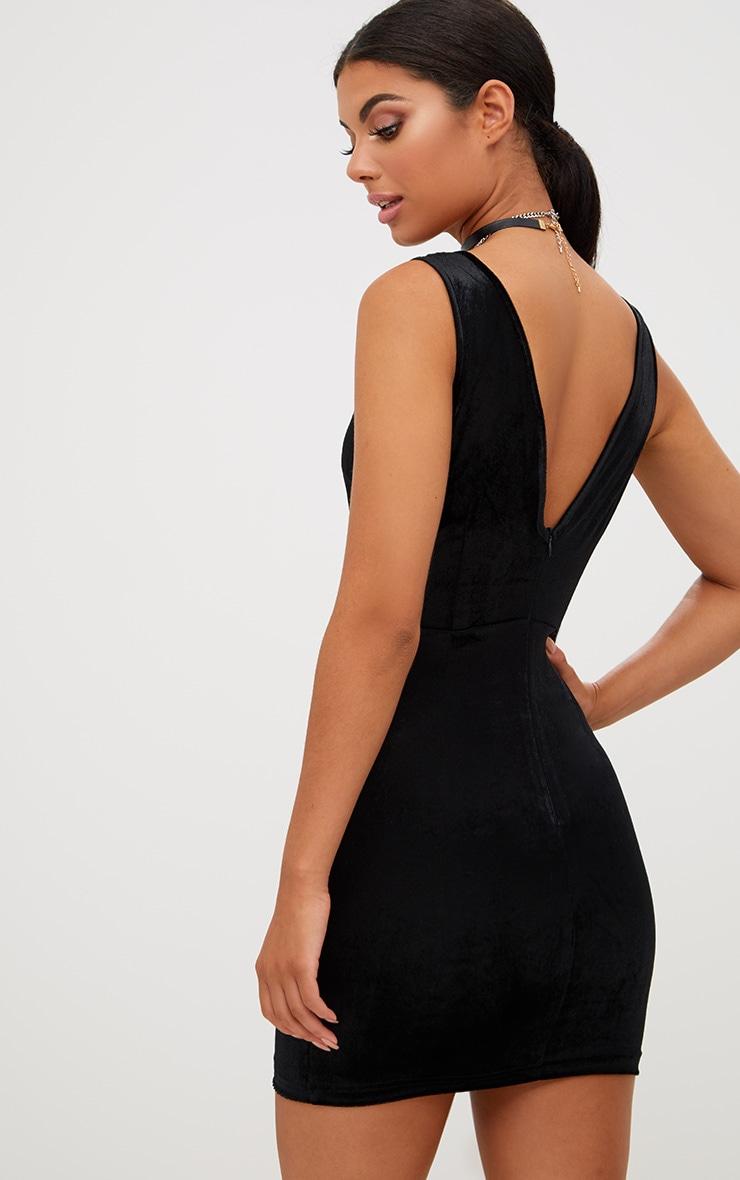 Black Eyelet Detail Velvet Plunge Bodycon Dress 2