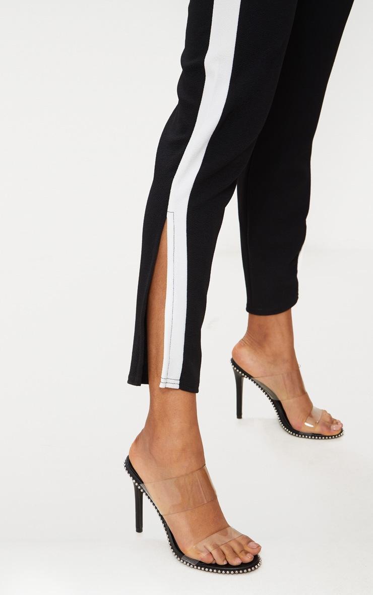 Black White Tape Contrast Side Tape Straight Leg Trouser 5