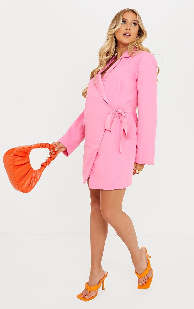 Maternity Pink Tie Side Blazer Dress 3