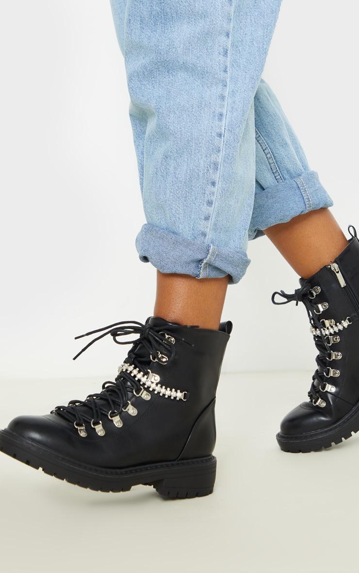 Black Diamante Detail Hiker Ankle Boot 2
