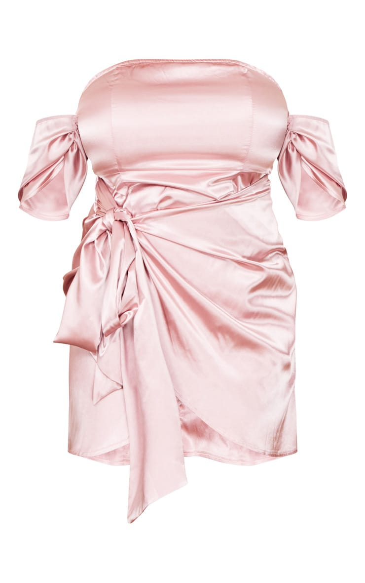 Plus Dusty Pink Satin Ruched Detail Bodycon Dress 6
