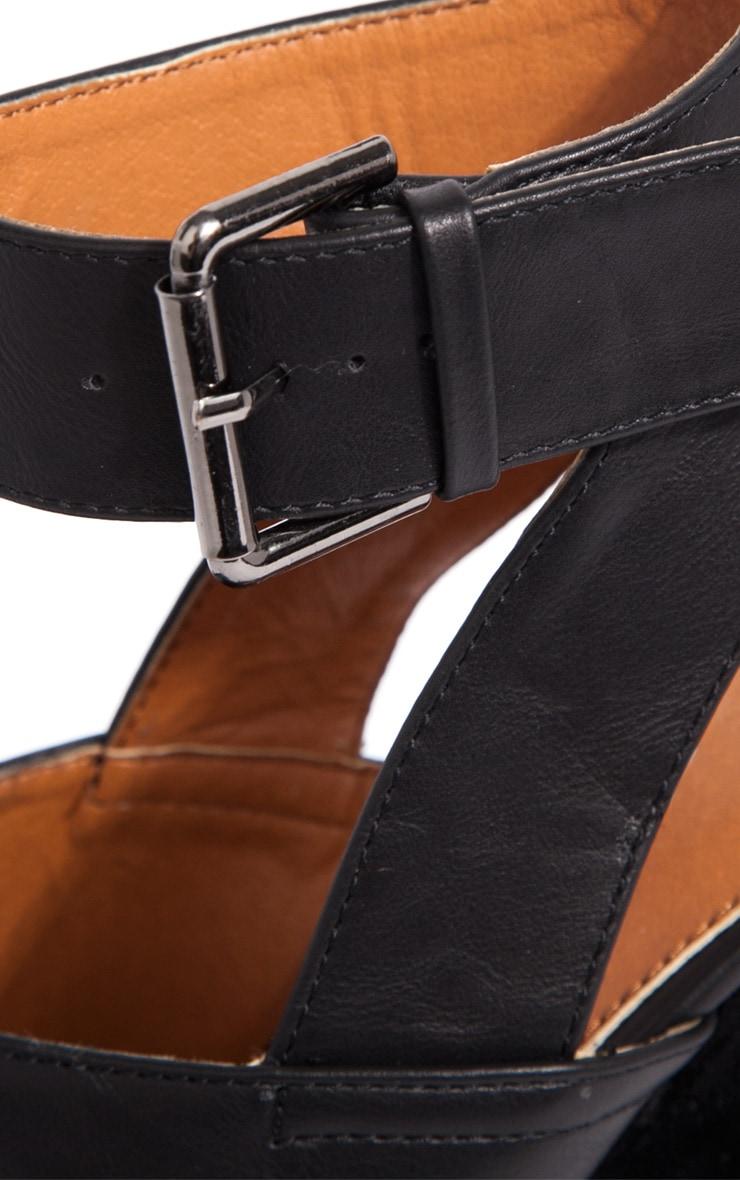 Sally Black Chunky Peeped Toe Heels 4